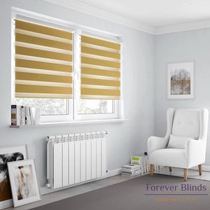 Combi Mustard Yellow Zebra Blinds