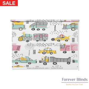 Cute Cars Blockout Printed Roller Blinds