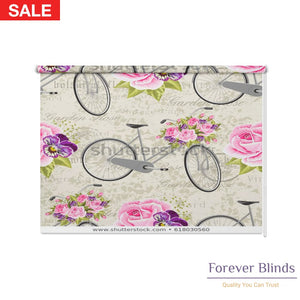Pink Roses Blockout Printed Roller Blinds