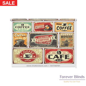 Retro Coffee Blockout Printed Roller Blinds
