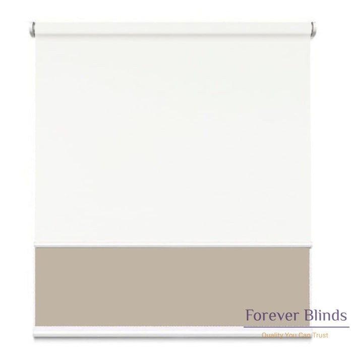 Sunscreen Beige - Blockout White Double Roller Blind