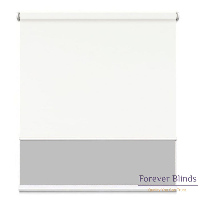 Sunscreen Grey - Blockout White Double Roller Blind