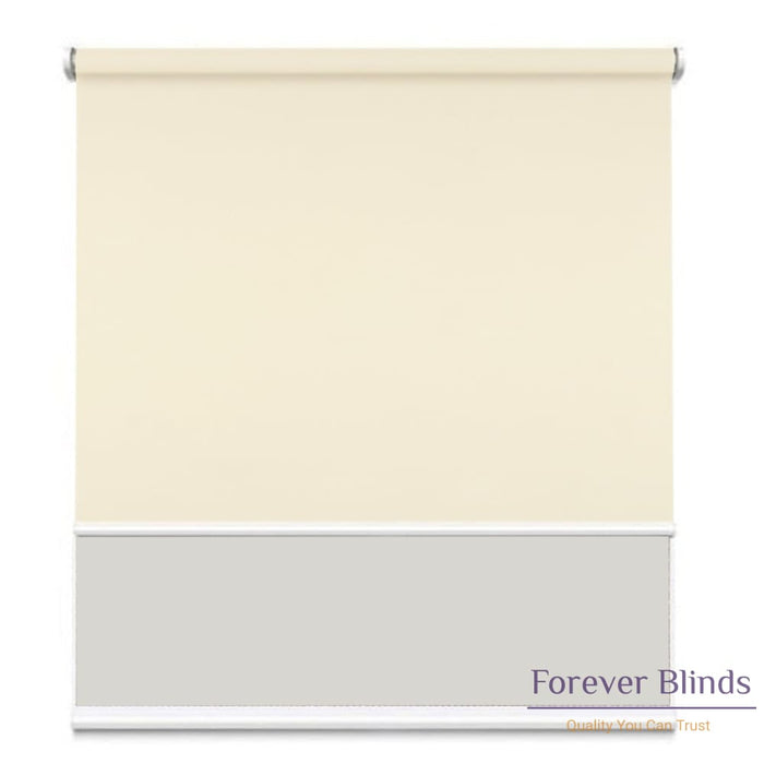 Sunscreen White - Blockout Beige Double Roller Blind