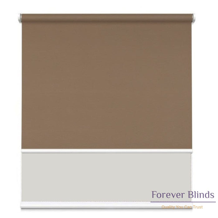 Sunscreen White - Blockout Brown Double Roller Blind