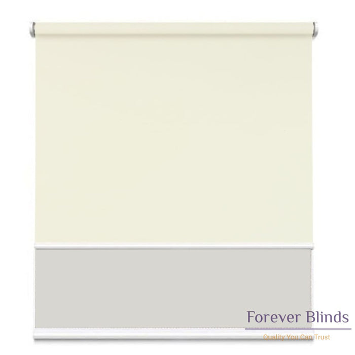 Sunscreen White - Blockout Champagne Double Roller Blind