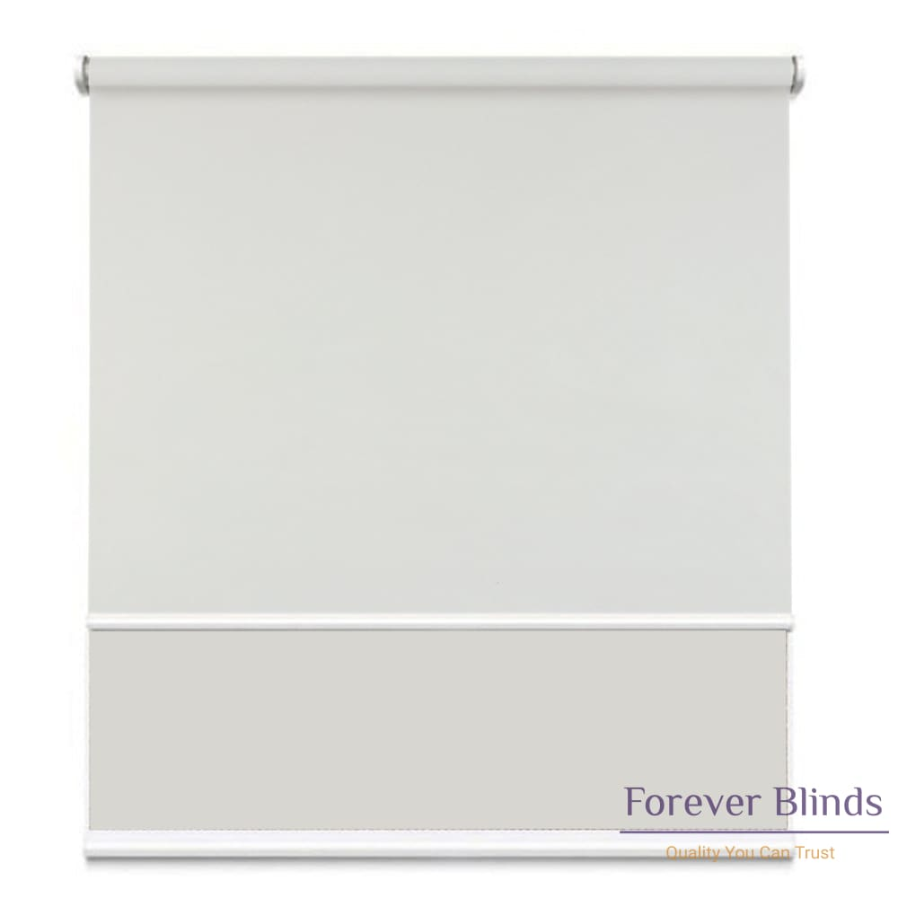 Sunscreen White - Blockout Cool Grey Double Roller Blind