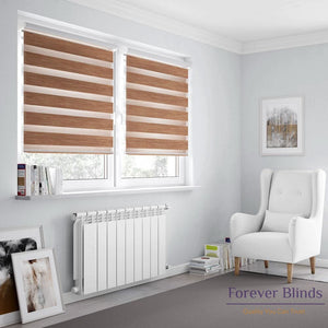 Wood Texture Copper Brown Zebra Blinds