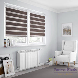 Wood Texture Walnut Brown Zebra Blinds