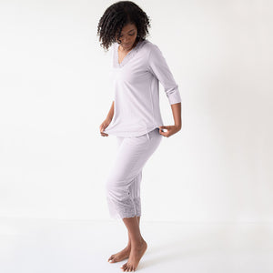 The Vera Lace Pajama Set | Silver - Davy Piper
