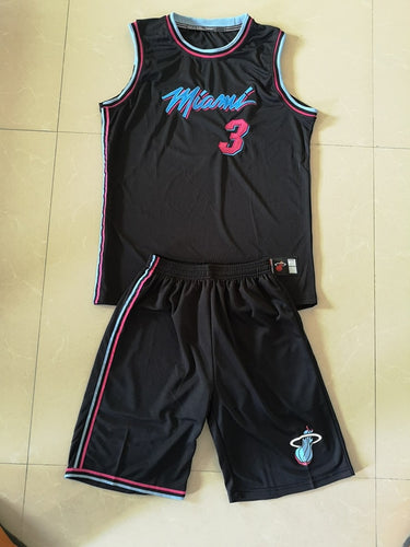 NBA Heat 3 Wade City Edition Embroidered Shirt Summer New Style Basketball Clothes