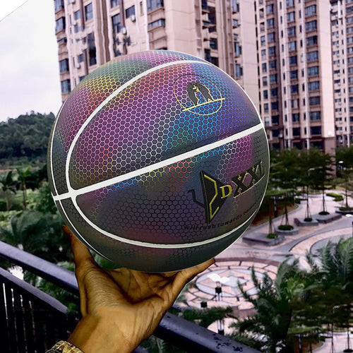 Hot Diameter 25 cm Rainbow design Basket ball for Men Luminous Colorful Indoor/Outdoor Game Glowing Ball MVI-ing