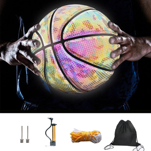 6 Pcs Professional Luminous Reflective Night Colorful Basketball Glowing Reflective Basketball Soft School Training Ball Basket
