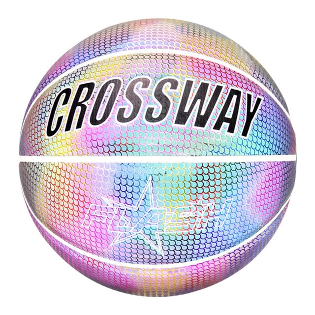 Holographic Basketball Wear-Resistant Luminous For Night Sports Great Gift Personalized Glowing Basketball Reflective Basketball