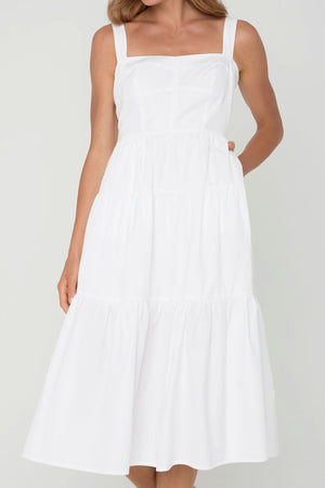 Coastlines Organic Cotton Midi Tiered Dress