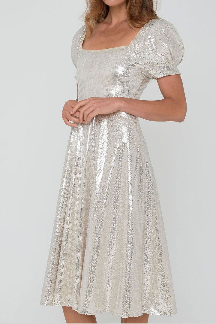 Coastlines Sequined Silver Tulle Midi Dress