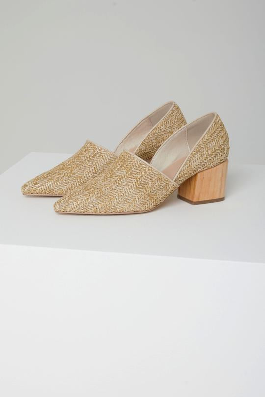 Coastlines Woven Natural Raffia Wood Heels