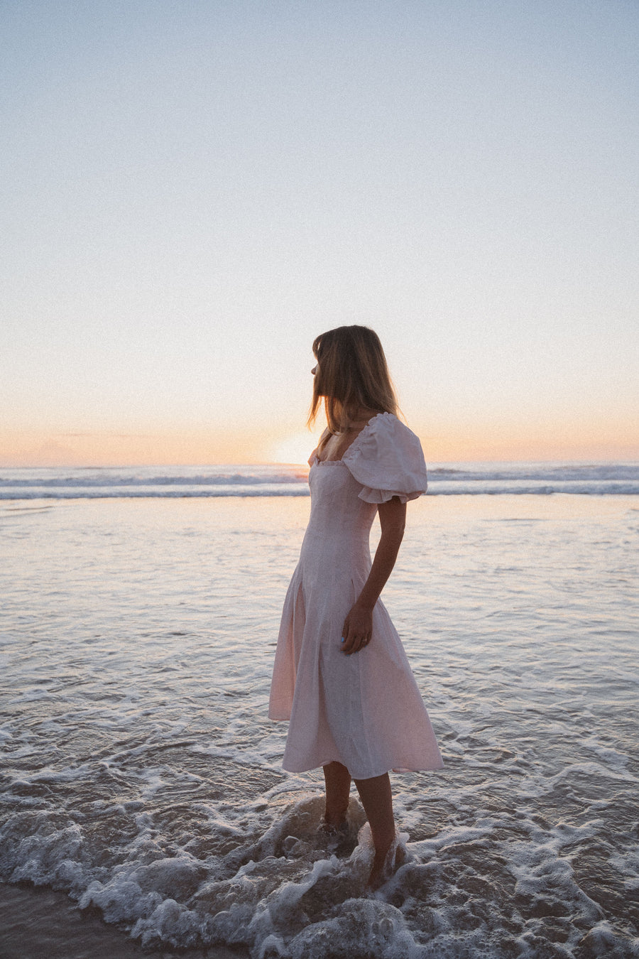Coastlines Blush Pink Linen Midi Dress