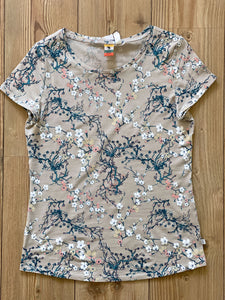 QS by s.Oliver Damen-T-Shirt mit floralem All-Over Print