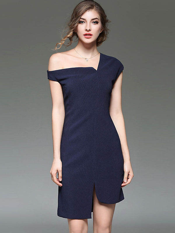 Sexy Off-The-Shoulder Pure Color Split Bodycon Dress