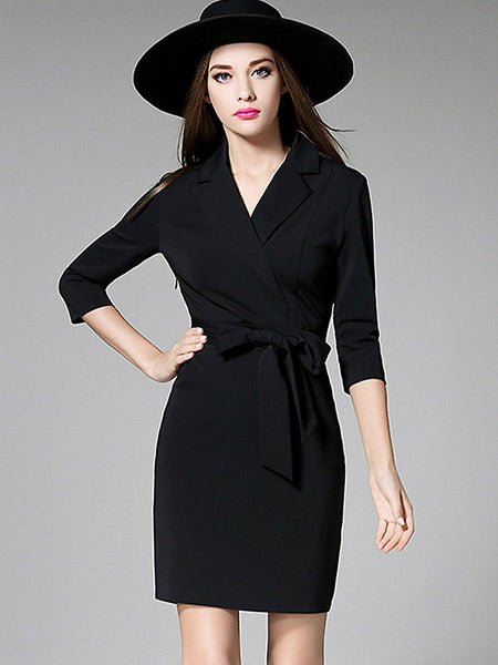 Brief V-Neck 3/4 Sleeve Belt Slim Work Dress