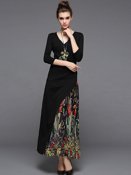 Elegant V-Neck 3/4 Sleeve Floral Print Maxi Dress Without Necklace