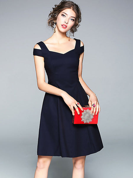 Stylish V-Neck Short Sleeve Elastic A-Line Dress
