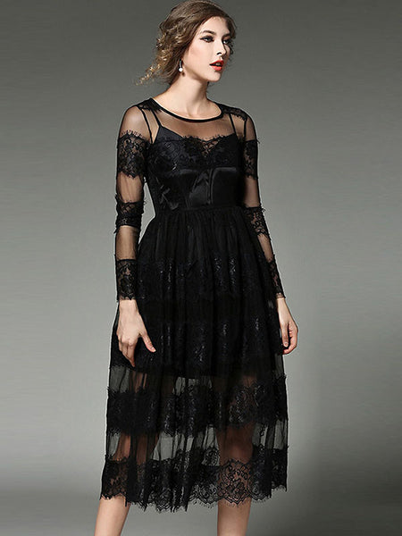 Fashion O-Neck Long Sleeve Perspective Lace A-Line Dress