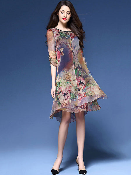 Vintage Multi Print Asymmetric Loose Shift Dress