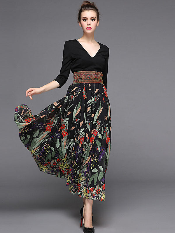 Stylish V-Neck Stitching High Waist Maxi Dress