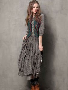 Vintage Embroidery Stand Collar 3/4 Sleeve Asymmetric Maxi Dress