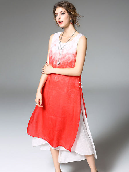 Chic O-Neck Sleeveless Gradual Change Color A-Line Dress