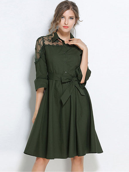 Fashion Stand Collar 3/4 Sleeve Bowknot A-Line Dress