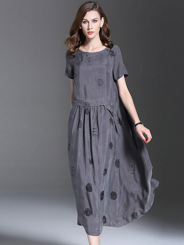 Elegant O-Neck Short Sleeve Print Shift Dress