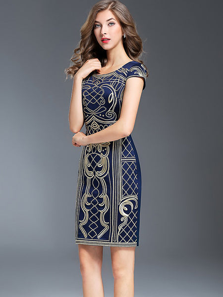 Vintage O-Neck Short Sleeve Embroidery Bodycon Dress