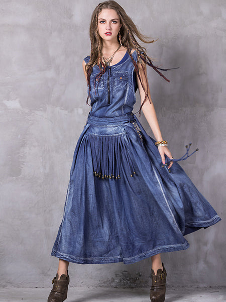 Ethnic O-Neck Sleeveless Tassels Denim Skater Dress