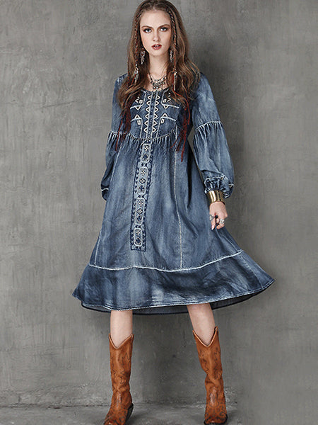 Ethnic Puff Sleeve Embroidery A-Line Dress