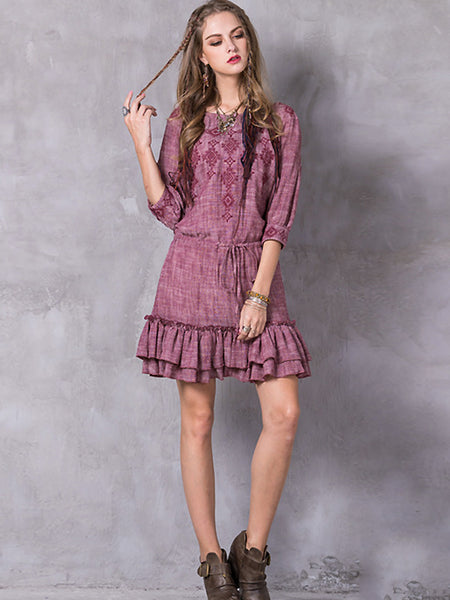Ethnic O-Neck Half Sleeve Falbala Skater Dress