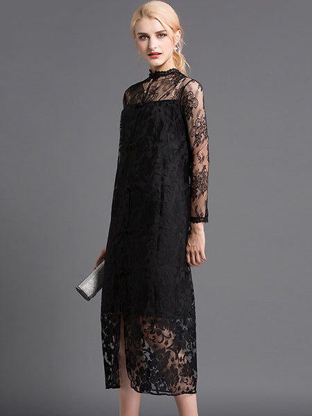 Sexy Ruffle Neck Long Sleeve Lace Bodycon Dress