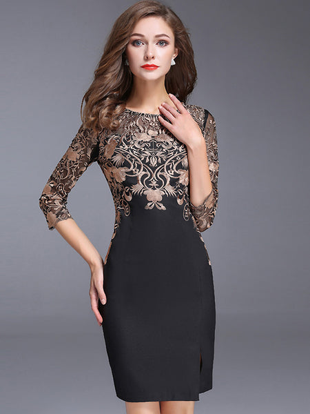 Chic O-Neck 3/4 Sleeve Lace Embroidery Bodycon Dress
