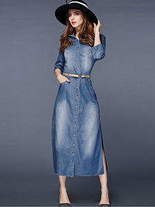 Chic Turn Down Collar Belted Denim Maxi Dress