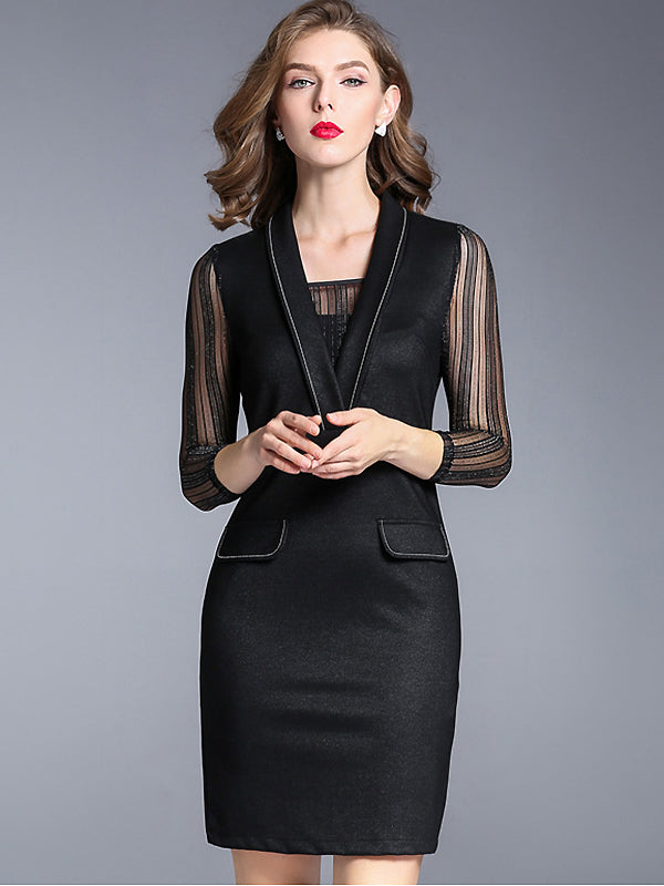Brief V-Neck Long Sleeve Black Bodycon Dress