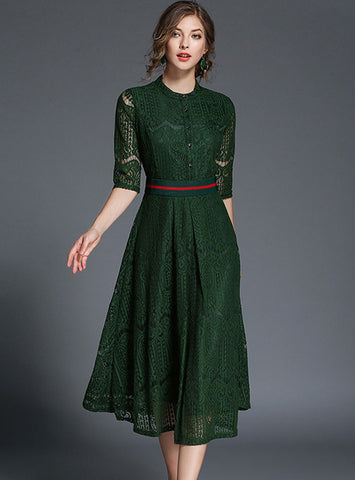 Elegant Lace Belt Half Sleeve Skater Dress
