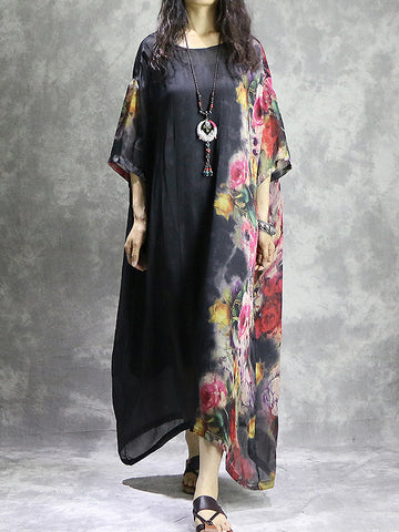 Causal Oversize Floral Print Asymmetric Shift Dress