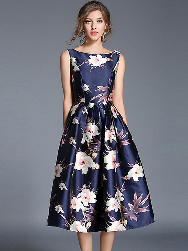 Vintage O-Neck Sleeveless Floral Print A-Line Dress