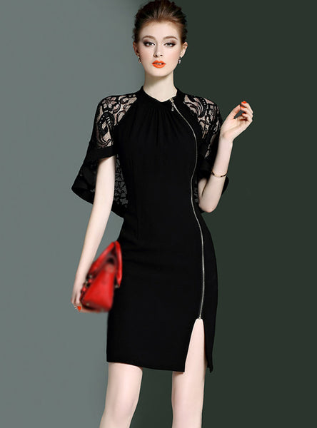 Elegant Caped-sleeve Zippered Sheath Dress