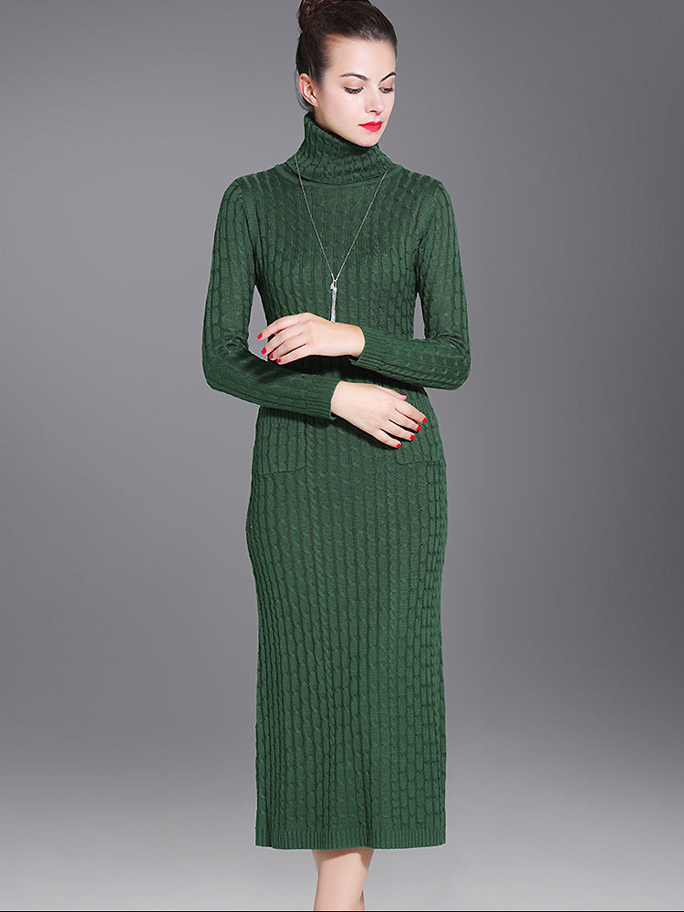 Elegant High Neck Pure Color Knitting Bodycon Dress