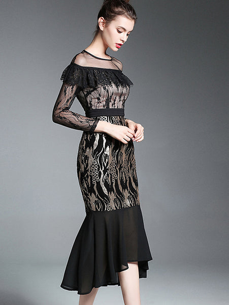 Stylish O-Neck Hollow Out Lace See-Through Mermaid Dress