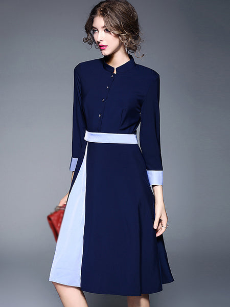 Brief Stand Collar Hit Color Skater Dress