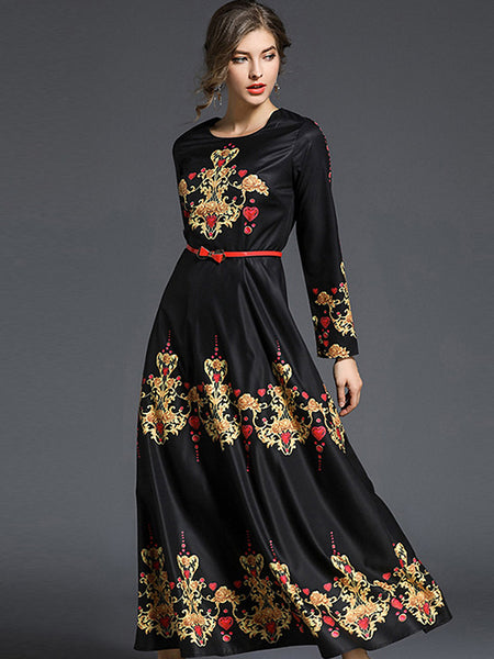 Vinatge O-Neck Belted Floral Print Maxi Dress