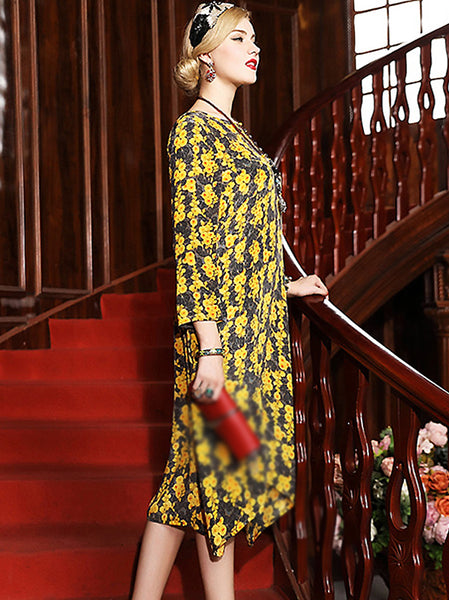 Casual O-Neck Floral Print Shift Silk Dress